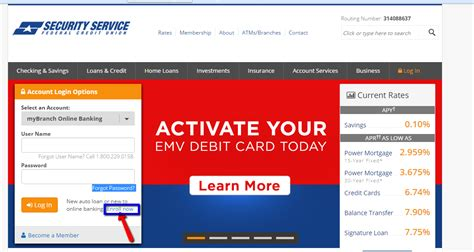 security service federal credit union banking login
