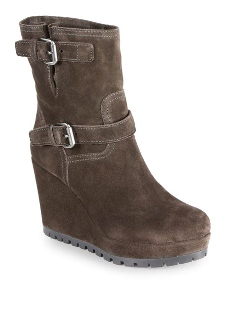 prada suede doublebuckle midcalf wedge boots in gray moro