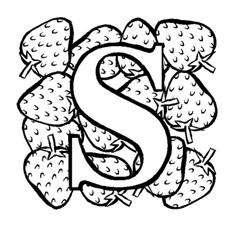 letter s coloring pages letter s strawberry coloring page