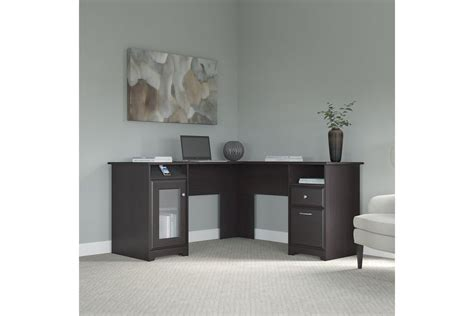l shaped desk in espresso cabot l shaped desk in espresso oak by bush at gardner white