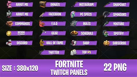 purple fortnite twitch panels  png loloverlay