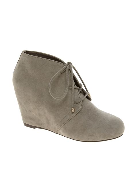 river island lace up wedge ankle boots in gray taupe lyst