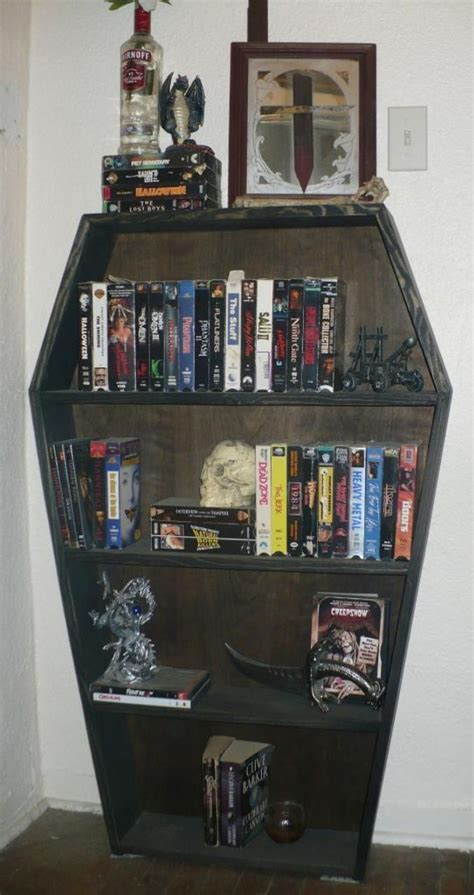 coffin shaped bookcase