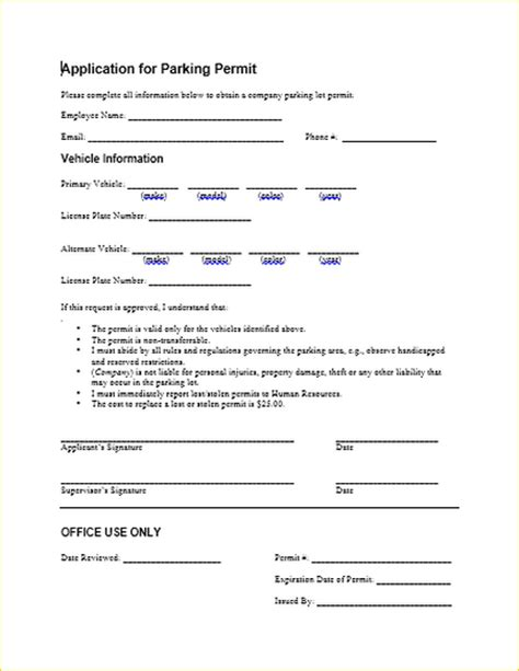 authorization letter to use parking lot this sle form enables an employee to apply for a