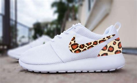 cute pattern nikes womens custom nike roshe run sneakers cheetah print