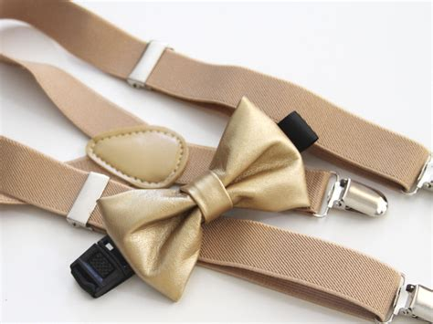 gold bow tie beige elastic suspender set