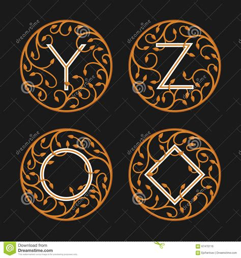 lettere alfabeto decorative lettere iniziali decorative y z illustrazione vettoriale