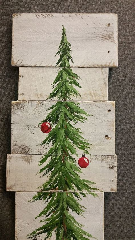 painted wooden trees white washed bulbs pine tree reclaimed wood pallet painted