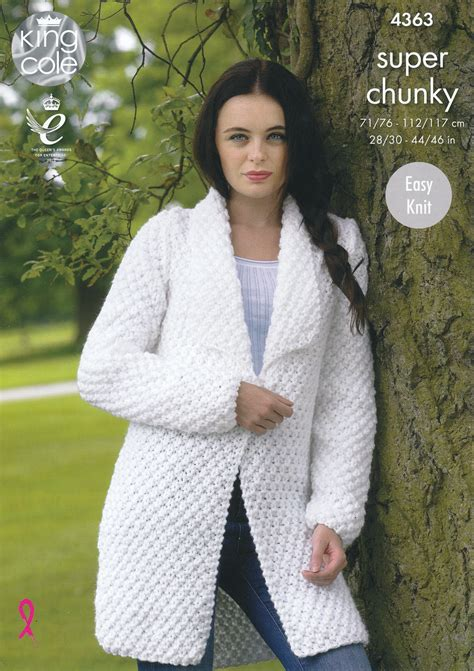 knit pattern sweater jacket ladies super chunky knitting pattern king cole easy knit