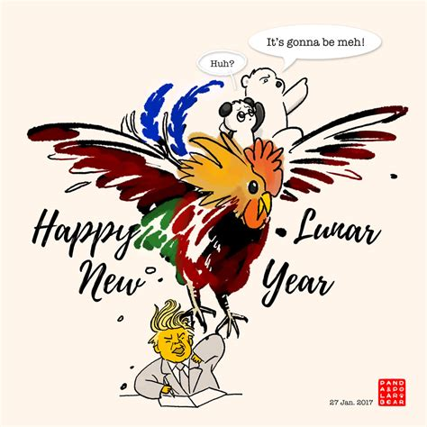 new year what does rooster happy lunar new year of rooster panda and polar