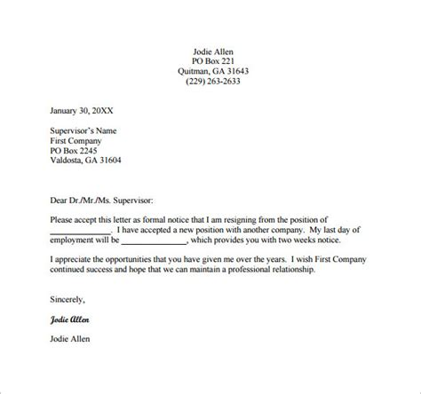Best Brief Resignation Letter Formal Resignation Letter Template 9 Free Word Excel Pdf Format Free Premium