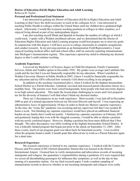 personal goal statement examples professional goals resume