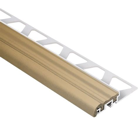 schluter trep s aluminum with light beige insert 3 8 in x