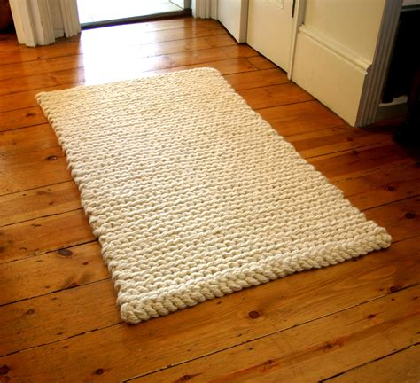 crocheted rug rug crochet rug mat chunky wool rug by articleapparel