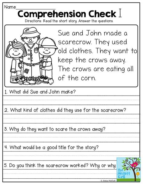Comprehension Worksheets With Questions stories with comprehension questions
