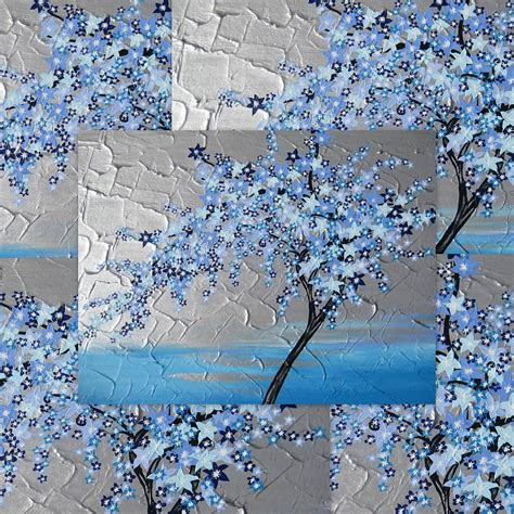 Pink Blossom In Blue blue blossom tree painting by cathy