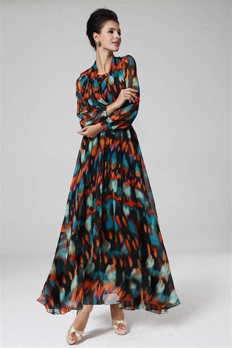 maxi dress design pattern 2014 bohemian style dress floral pattern long sleeve fake