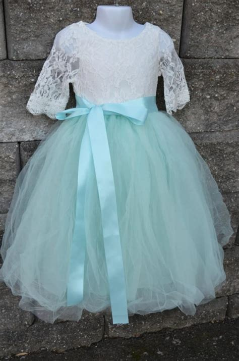 Set Flowery Dress flower tutu dress set aqua mint tulle