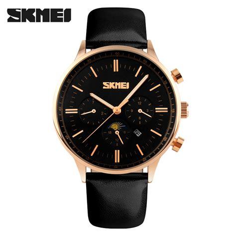 skmei jam tangan kasual pria 9117cl black gold