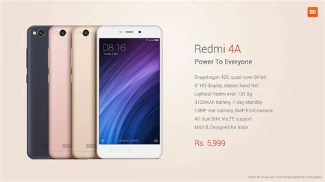 redmi 4a xiaomi launches redmi 4a in india gadgets in nepal