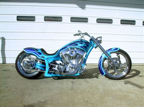 Handmade Motorcycle - covingtons blueflames custom motorcycle