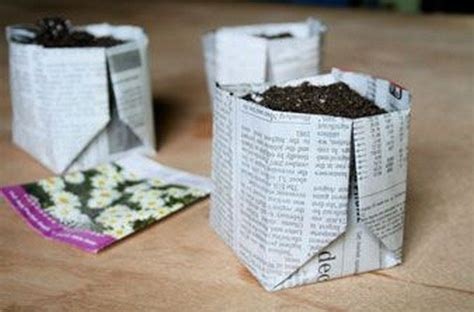 How To Make Paper Plant Pots - how to make biodegradable newspaper seedling pots craft