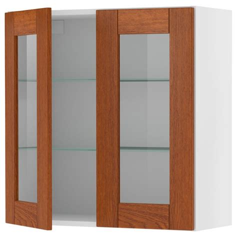birch kitchen cabinet doors akurum wall cabinet with 2 glass doors birch lixtorp brown
