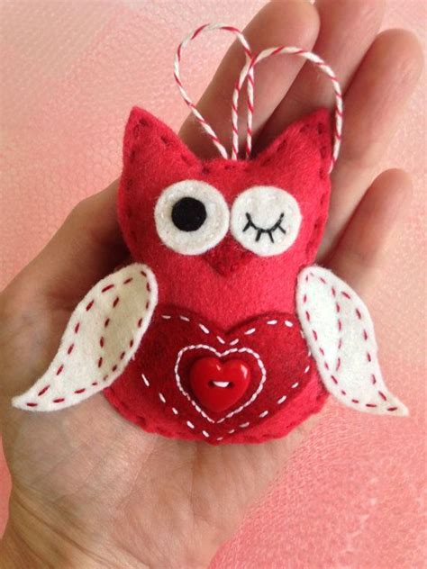valentines ornaments handcrafted wool felt owl with button belly