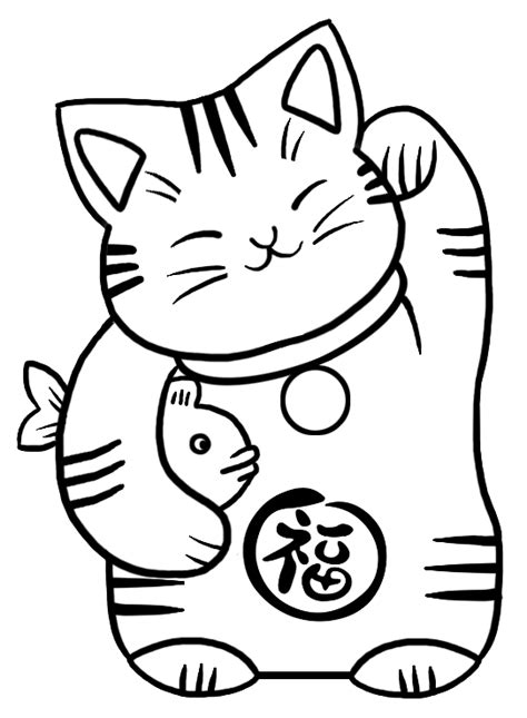 lucky cat coloring page image gallery japanese lucky cat drawing