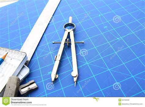 blueprint tool drafting tools and blueprint pencil etc stock photo