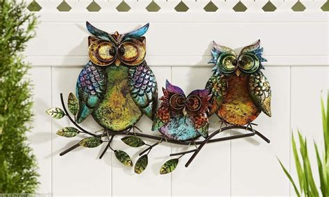 22 5 Quot Long 3 Owls Perched Atop A Branch Design Iron Garden Wall Ornaments