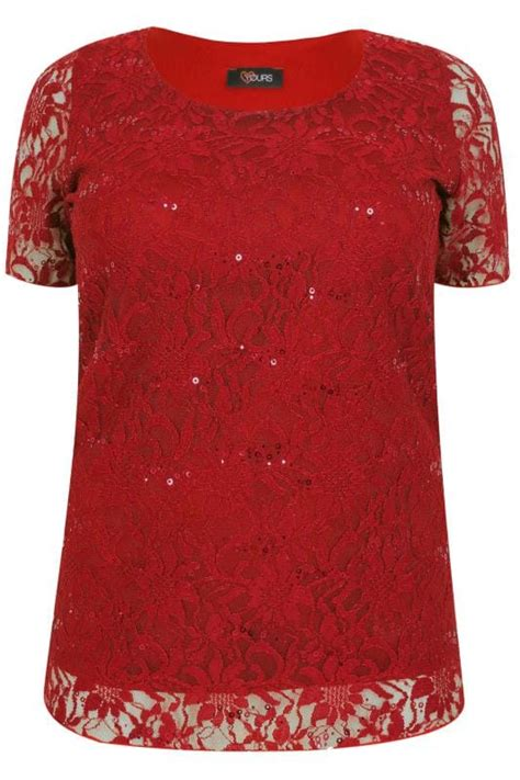 Shell Gift Cards For Sale - red lace shell top with sequin details plus size 16 to 36