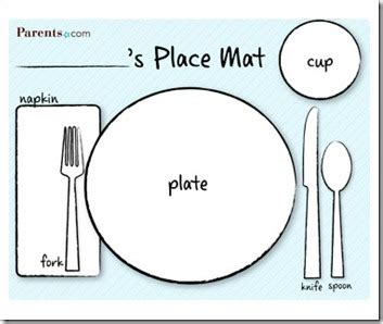 place setting template preschool alphabet in the kitchen with plastic knives