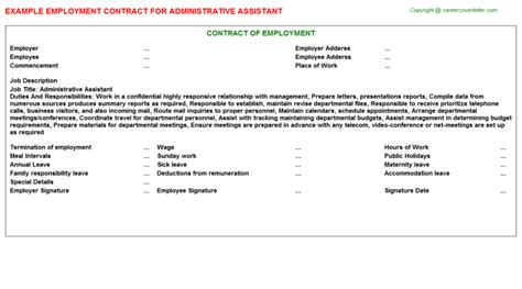Administrative Assistant Employment Contracts Agreements Contracts Templates Administrative Assistant Contract Template