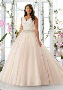 large size wedding dresses embroidered lace bodice edged with beading ontulle wedding dress morilee