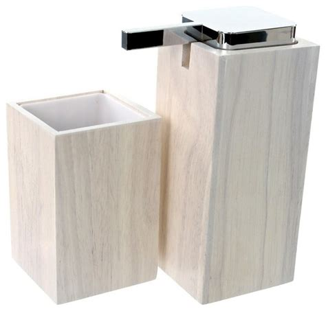 White Wooden Bathroom Accessories Wooden 2 White Bathroom Accessory Set Contemporary Bathroom Accessory Sets By