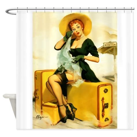 pin up shower curtain pin up girl suitcases vintage shower curtain by
