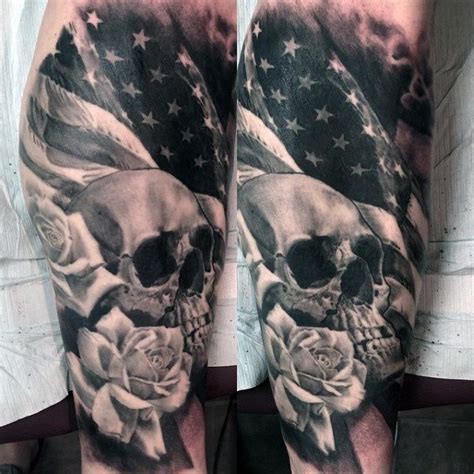 military tattoo ideas for men skull american flag tattoos tattoos