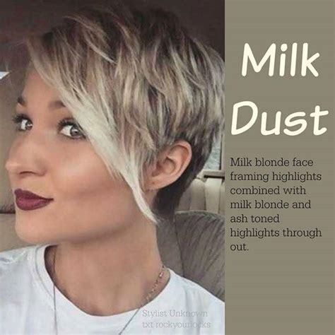 highlighting pixie hair at home hair style milk dust milk blonde face framing