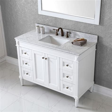 48 single sink vanity with backsplash virtu usa 48 inch single sink white vanity with