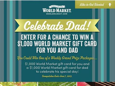 world market day world market s father s day sweepstakes