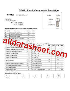 transistor ss8050 datasheet ss8050 datasheet pdf daya electric co ltd