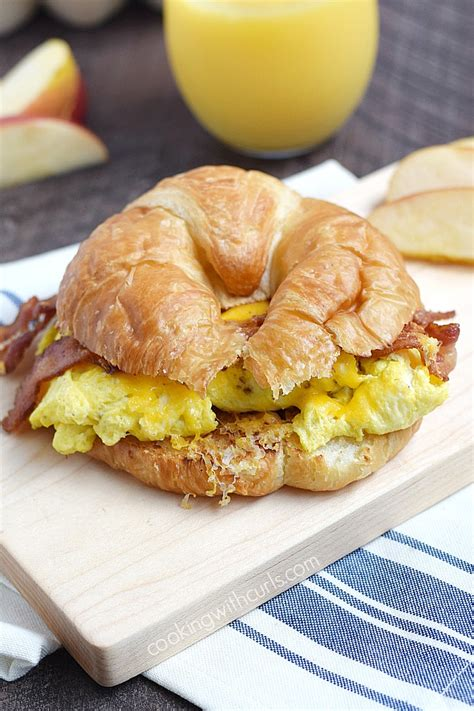 Keep Those Hunger Pangs From Getting The Best Of You by Bacon Egg And Cheese Croissant Cooking With Curls