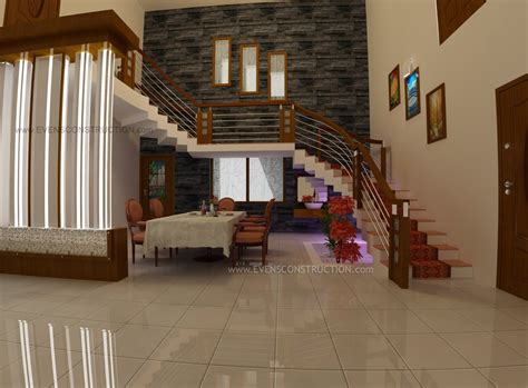 kerala home design staircase dining and stair area home