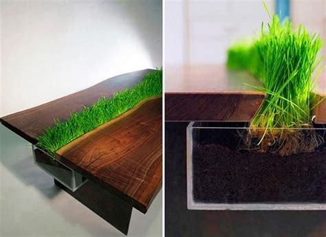modern tables  miniature gardens  grass