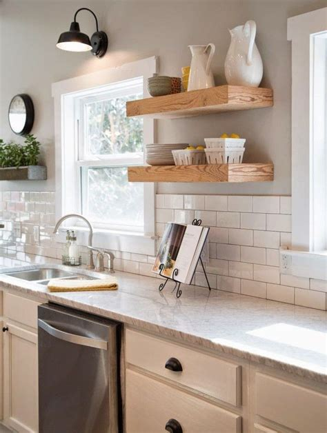 gooseneck l white kitchen cabinets white subway tile