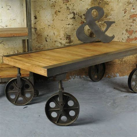 Industrial Coffee Table With Wheels Industrial Vintage Coffee Table With Wheels By The Orchard Furniture Notonthehighstreet