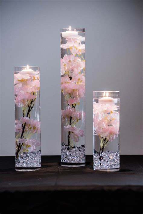 cherry blossom table centerpieces submersible pink or white cherry blossom floral wedding