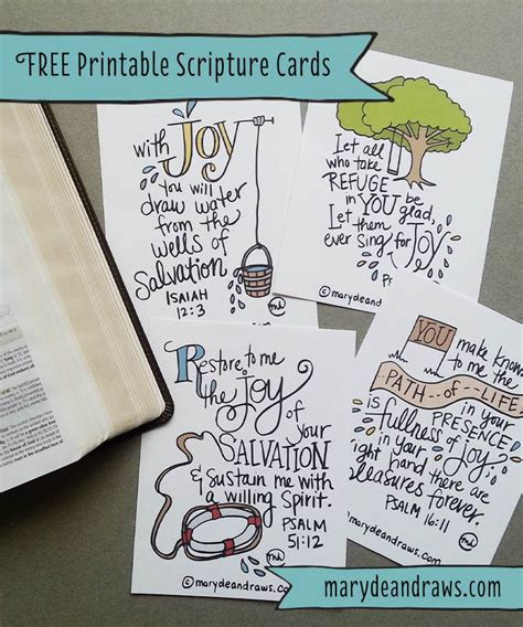 Bible Memory Verse Card Template by Marydean Draws Free Printable Scripture Cards