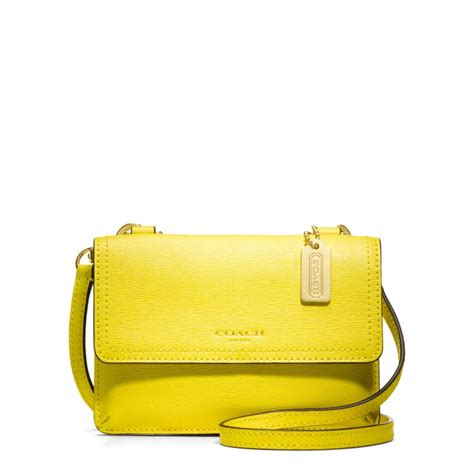 Phone Crossbody Bag coach saffiano leather phone cross bag in yellow lyst